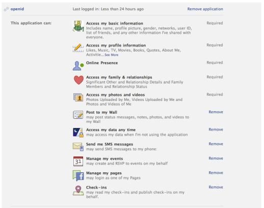 Liste de toutes les permissions demandées par les applications Facebook